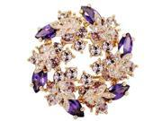 Elegant Bauhinia Wreath Flower Shape Brooch, Fashion Girls Inlaid Color Corsage Crystal Brooches for Party(Purple)