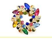 Elegant Bauhinia Wreath Flower Shape Brooch, Fashion Girls Inlaid Color Corsage Crystal Brooches for Party(multi)