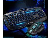 Blue Light USB Wired LED Illuminated Backlit Pro Gaming Keyboard + Mouse Set