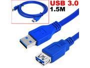 HQmade SuperSpeed USB 3.0 Type A Extension Data Cable Cord 5Gbps Male to Female - 1.5m (5')