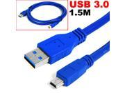 HQmade Superspeed USB 3.0 Type A to Mini USB 3.0 Cable (Mini-B) Male Data 1.5M ( 5' ) Extension Cable M/M
