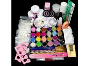 Full Nail Art Set Acrylic Glitter Powder Primer TIP Brush Glue Dust KITS