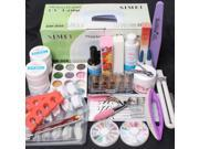 25 in 1 Combo Set Professional DIY UV Gel Nail Art Kit 9W Lamp Dryer Brush Buffer Tool Nail Tips Glue Acrylic Set