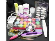 Pro Full Acrylic Liquid Powder Nail Art Tips Clipper Tools Kit Set #8023