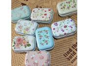 Small Jewelry Metal Storage Box Case Flowers Decor Container