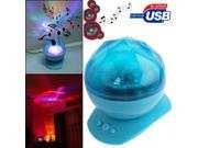 2 in 1 Multicolor Diamond Light Ocean Projection Lamp + Speaker (Blue)