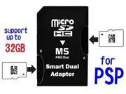 Dual MicroSD / MicroSDHC / TF to Memory Stick MS Pro Duo MSPD 1GB 2GB 4GB 8GB 16GB 32GB for SONY PSP