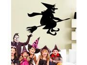 ZNUONLINE Wall Decals Halloween Witch on Broom Broomstick Wall Sticker