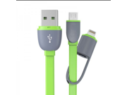 NEW Time-limited discount brand 2in1 micro USB cable Sync Data Charging Charger Flat Noodle Cable For Samsung Iphone -white (Notice: Cable was not MFI)