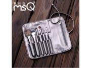 MSQ 6 wool brown makeup brush sets  Professional Wool Cosmetic Makeup Brush Set Kit Brushes tools Make Up Case