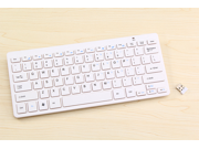 Ultra Compact Slim Profile Wireless Bluetooth Keyboard for iOS, Android, Windows and Mac with Rechargeable 6-Month Battery (White)