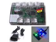 USB 2.0 7 Port Multi-Color LED  Hub Splitter + Ac Power Adapter