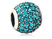 Babao Jewelry Huge Round Turquoise Czech Crystal Soild Authentic 925 Sterling Silver Bead Fits Pandora Style European Charm Bracelet