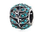Babao Jewelry Sparkling Leaves Turquoise Czech Crystal Soild Authentic 925 Sterling Silver Bead Fits Pandora Style European Charm Bracelets