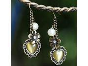 Women's Retro heart-shaped synthetic opal pearl earrings