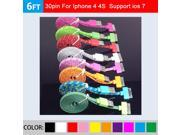 2m 6ft flat Nylon Braided noodle data sync and charge USB cable for iphone 4 4s 3gs ipad 3 2 1 ipod classic ipod nano ipod touch