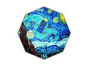 Vincent van Gogh painting and Doctor Who TARDIS Background Triple Folding Umbrella!43.5 inch Wide!Perfect as Gift!