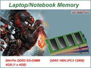 4GB PC3-12800 DDR3-1600MHz 1.35V 204Pin Sodimm Laptop RAM Memory NEW (Ship from US) Part#:MP29050476001