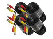 4 X 60ft(20m) BNC Video Power Siamese Cable for CCTV Surveillance Camera DVR Kit
