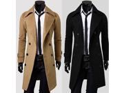 Plus size high quality men coat double-breasted long slim outwear