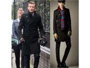 Winter long double-breasted trench coat fashion wool outerwear for men