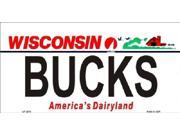 BUCKS Wisconsin State Background Aluminum License Plate - SB-LP2578