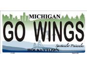 GO WINGS Michigan State Background Aluminum License Plate - SB-LP2809