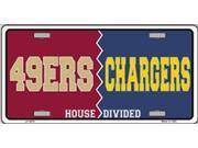 San Francisco 49ers vs San Diego Chargers House Divided License Plate - SB-LP4870