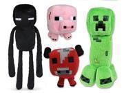 4pcs/set Minecraft Enderman Mooshroom Creeper pig Game Overwold Soft Plush Toys Kit Stuffed Aminal Dolls