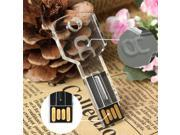 4GB 4G Transparent Acrylic Key Shape USB 2.0 Flash Drive Stick Memory Thumb for Laptop Computer Mac Notebook Win 7 8