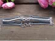 Multi Layer Handmade Infinity Cross Leather Rope Bracelet Tq-B75