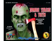 Zombie Stache Moustache With Teeth Costume Accessory One Size