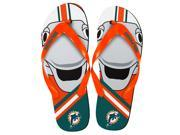 Miami Dolphins NFL 8-16 Youth Mascot Flip Flops X-Large (5-6)