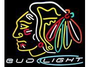 Fashion Neon Sign Bud Light Chicago Blackhawks Handcrafted Real Glass Lamp Neon Light Neon Sign Beerbar Sign Neon Beer Sign 19x15