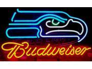 Fashion Neon Sign Budweiser Seattle Seahawks Handcrafted Real Glass Lamp Neon Light Neon Sign Beerbar Sign Neon Beer Sign 19x15