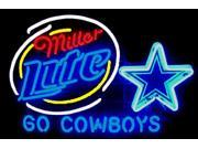 Fashion Neon Sign Miller Lite Dallas Cowboys Handcrafted Real Glass Lamp Neon Light Neon Sign Beerbar Sign Neon Beer Sign 24x20