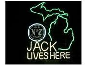 Fashion Neon Sign Jack Daniels Lives Here Michigan Whiskey Handcrafted Real Glass Lamp Neon Light Neon Sign Beerbar Sign Neon Beer Sign 24x20