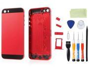 High Quality Back Panel Housing Case Cover w/ Buttons SIM Card Tray Compatible for iPhone 5s with Open Kit- Black & Red
