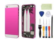Preassembled Metal Back Cover Housing Battery Door Assembly Middle Frame Bezel Full Assembled with Small Parts Installed Free Tools For iphone 5s (Rose/White Glass)