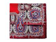 Bruno Piattelli Silk Large Paisley Pocket Square - Red/Blue/Gold