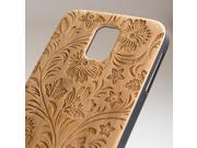 Samsung Galaxy S5 engraved bamboo case in floral 3 pattern