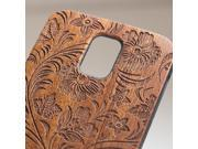 Samsung Galaxy S5 engraved sapele wood wooden case in floral 3 pattern