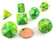 Polyhedral 7-Die Vortex Chessex Dice Set - Dandelion with White Numbers
