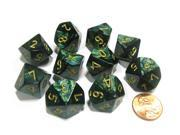 Set of 10 Chessex Scarab D10 Dice - Jade with Gold Numbers