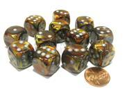 Lustrous 16mm D6 Chessex Dice Block (12 Dice) - Gold with Silver Pips