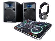 Numark Mixtrack Quad 4-Channel Serato DJ Controller w/ N-Wave 580 Monitors and Headphones