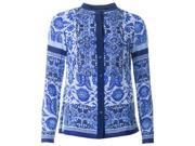 Michael Kors Porcelain Print Collarless Shirt Colour: ROYAL BLUE, Size