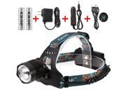 Headlamp Cree XM-L T6 Rechargeable Headlight Zoomable Headlamp Black