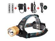 Headlamp Cree XM-L T6 Rechargeable Headlight Zoomable Headlamp Color Gold