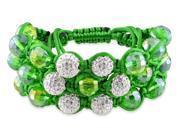 Cubic Zirconia and Green Bead Shamballa Green Silk Cord Cuff Bracelet